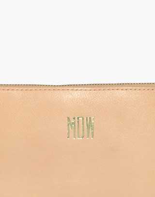 The Leather Pouch Clutch in linen image 4