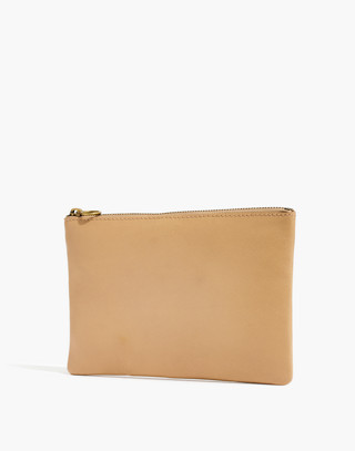 The Leather Pouch Clutch in linen image 2