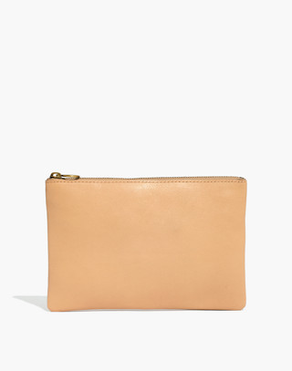 The Leather Pouch Clutch in linen image 1