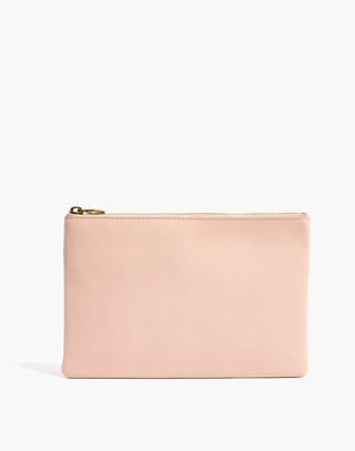 The Leather Pouch Clutch in sheer pink image 1