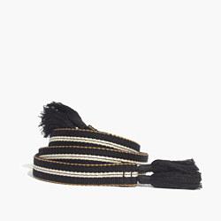 Striped Tassel Sash Belt