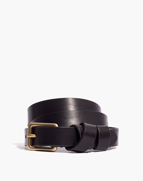 Leather Crisscross Skinny Belt in true black image 1