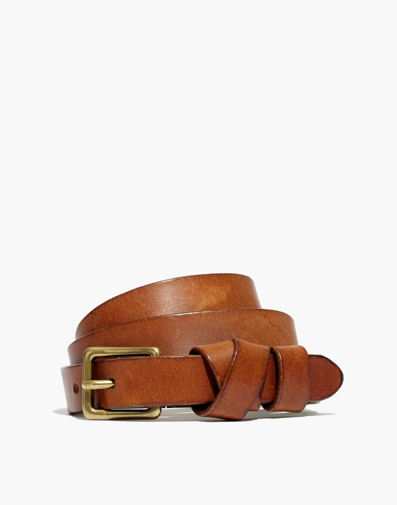 Leather Crisscross Skinny Belt in english saddle image 1