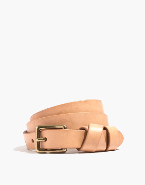 Leather Crisscross Skinny Belt in linen image 1