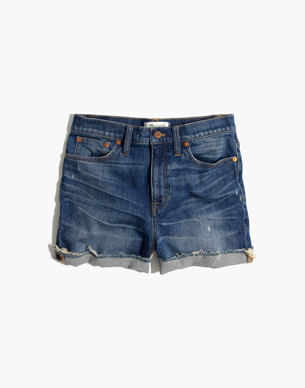 High-Rise Denim Shorts in Glenoaks Wash: Cutoff Edition in glenoaks wash image 4