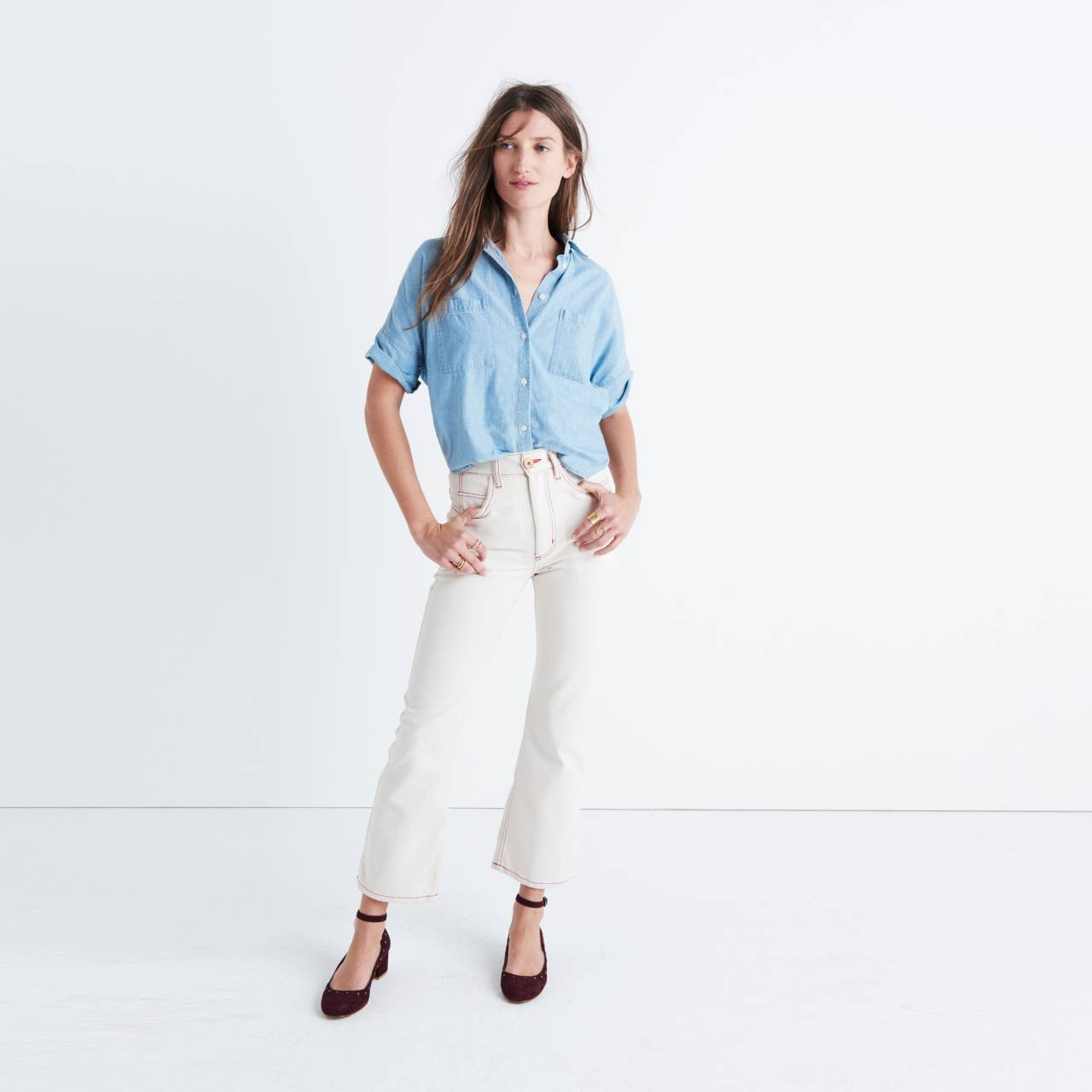 Caron Callahan™ Joni Five-Pocket Jeans in natural denim image 1