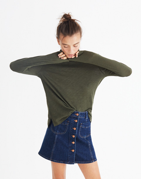 Whisper Cotton Turtleneck in forest moss image 2