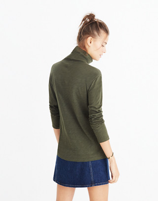 Whisper Cotton Turtleneck in forest moss image 3