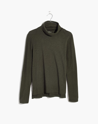 Whisper Cotton Turtleneck in forest moss image 4