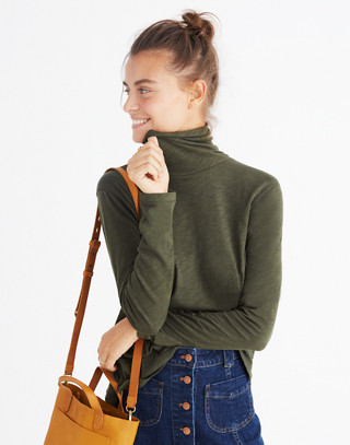 Whisper Cotton Turtleneck in forest moss image 1