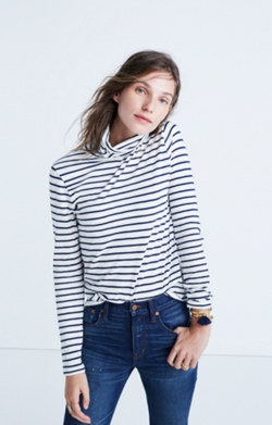 Whisper Cotton Turtleneck in Cordova Stripe