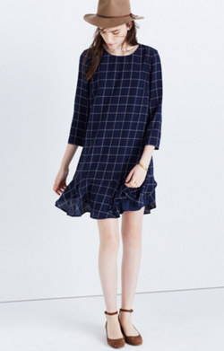 Silk Ruffle-Hem Dress in Windowpane