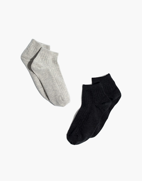 Two-Pack Ribbed Heather Anklet Socks in grey black image 1