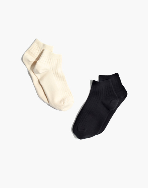 Two-Pack Ribbed Heather Anklet Socks in black/cream image 1