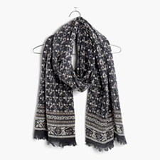Abstract Floral Border Scarf - BOHEMIAN CHARCOAL GREY