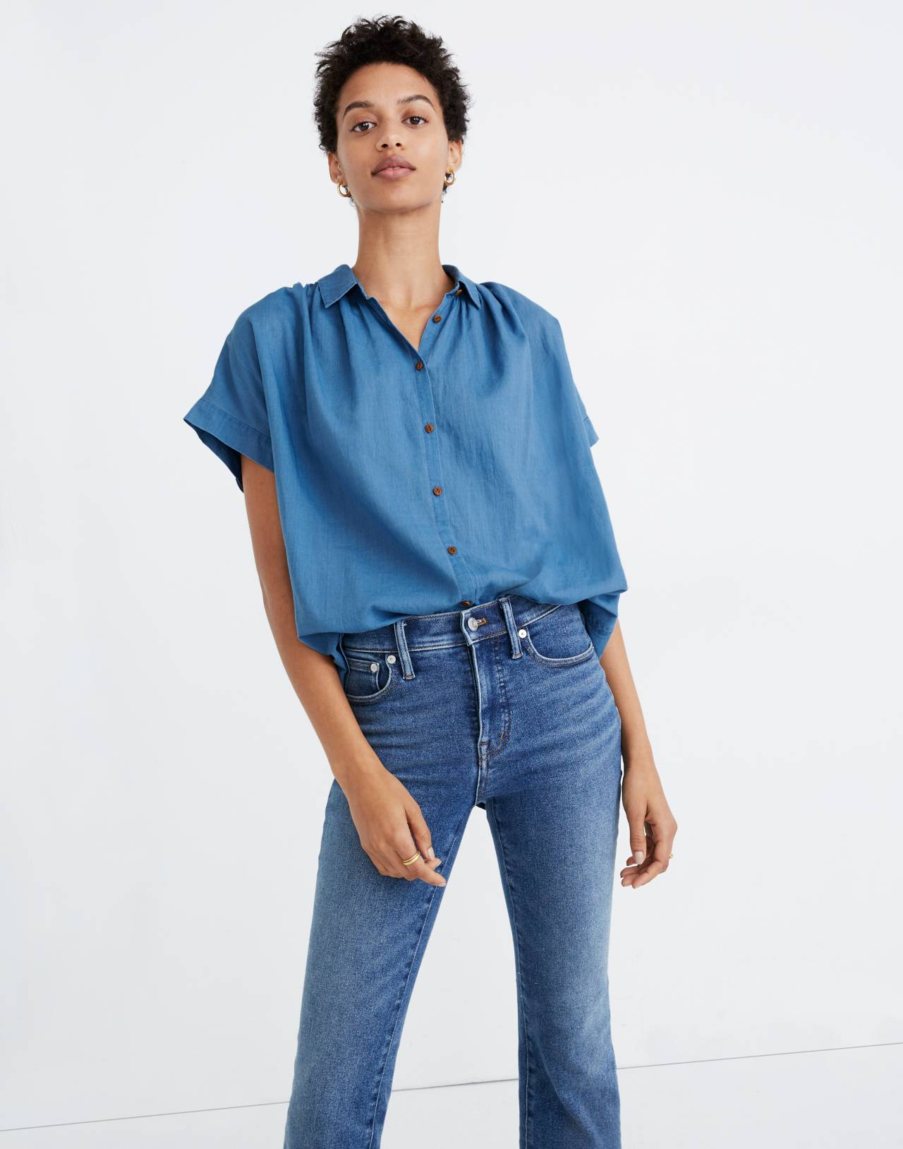 Central Shirt in Bright Indigo in bright indigo image 1