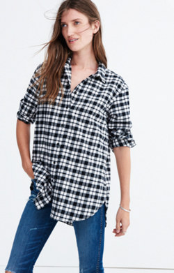 Flannel Oversized Side-Button Shirt in Bridgeport Plaid