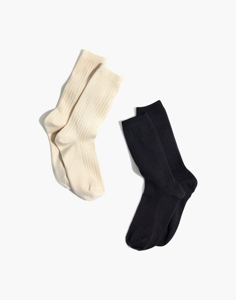 Two-Pack Ribbed Heather Trouser Socks in black/cream image 1