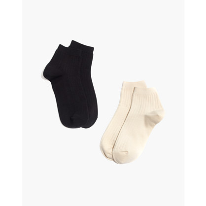 Two-Pack Ribbed Heather Ankle Socks