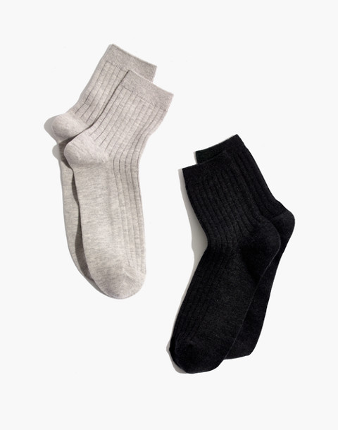 Two-Pack Ribbed Heather Ankle Socks in hthr grey/hthr charcoal image 1
