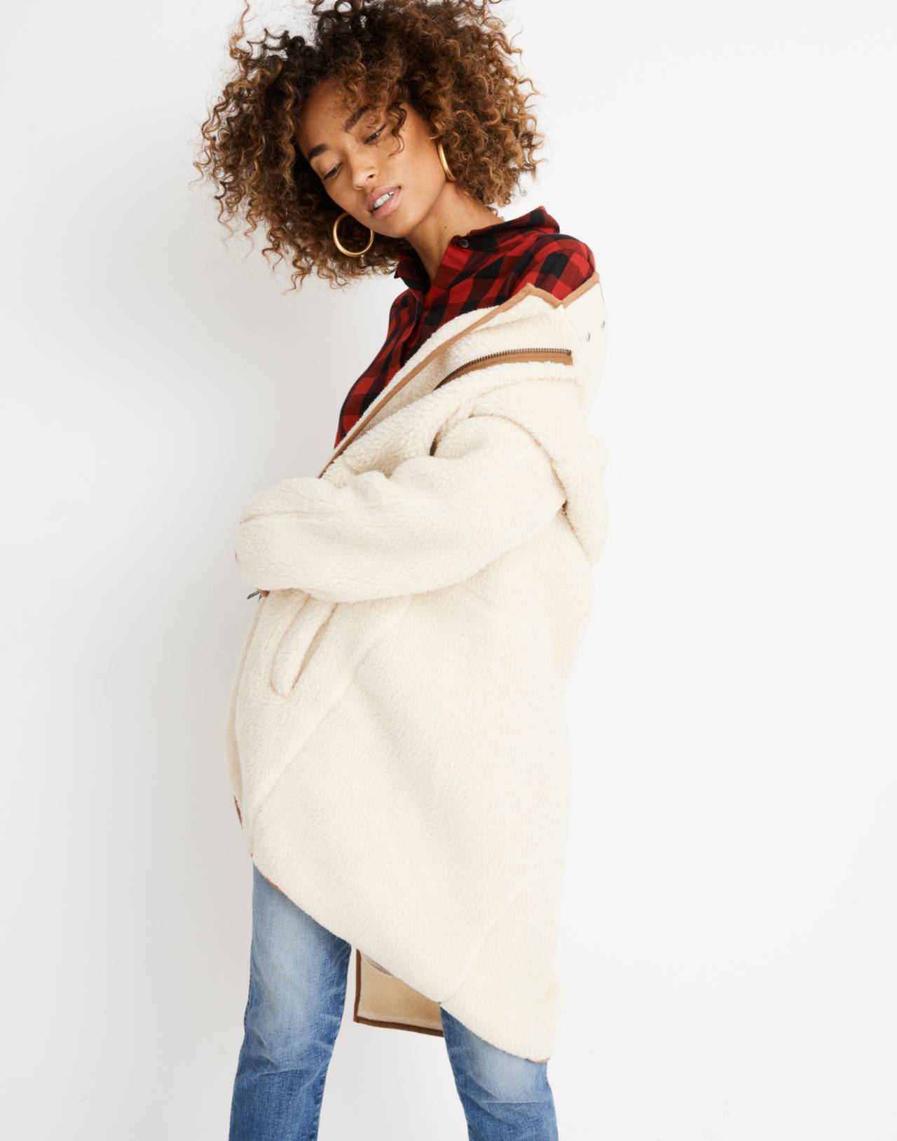 Sherpa Cocoon Coat in bleached linen image 2