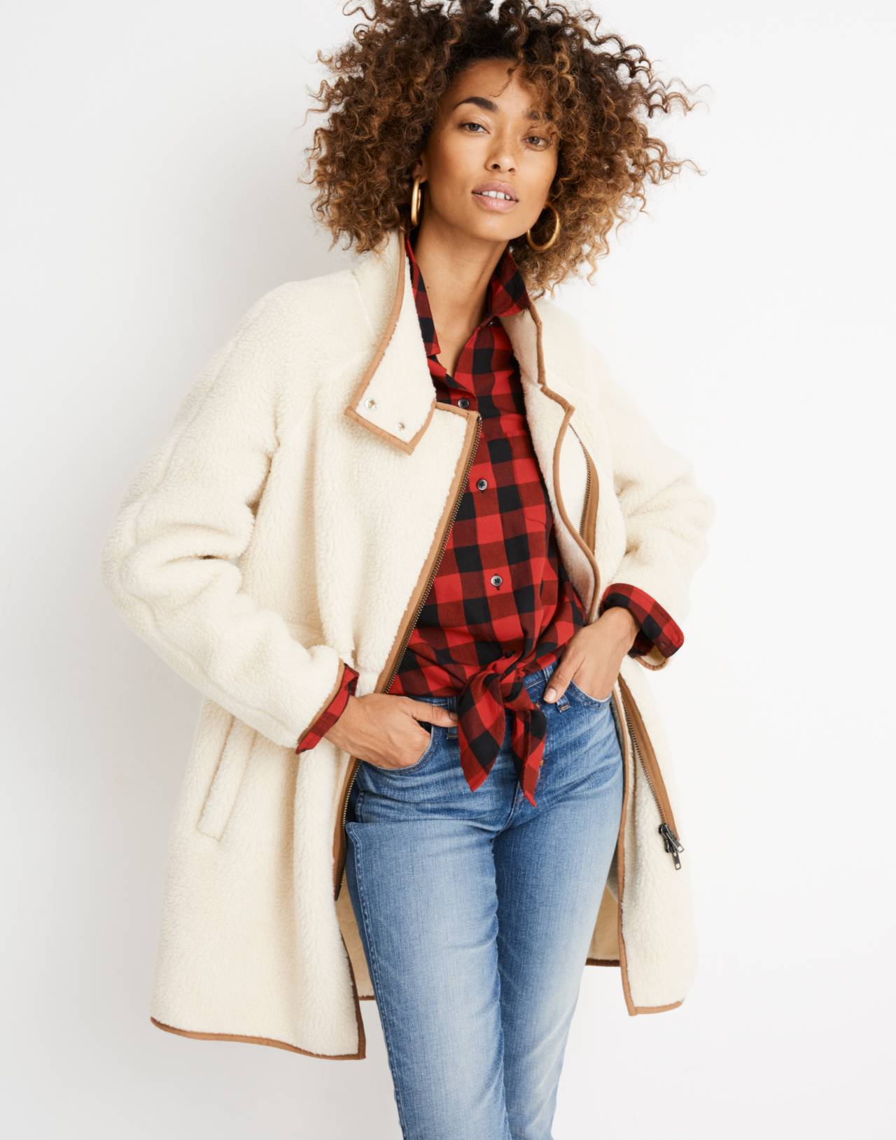 Sherpa Cocoon Coat in bleached linen image 3