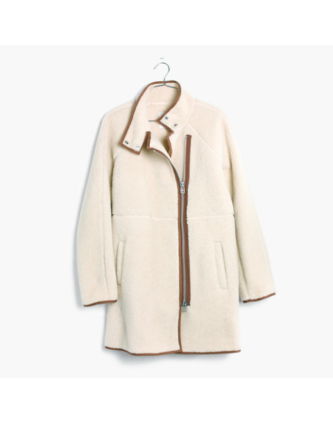 Sherpa Cocoon Coat in bleached linen image 4