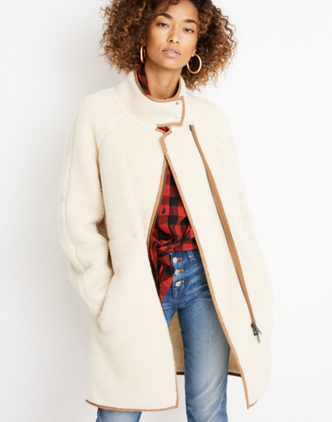 Sherpa Cocoon Coat in bleached linen image 1