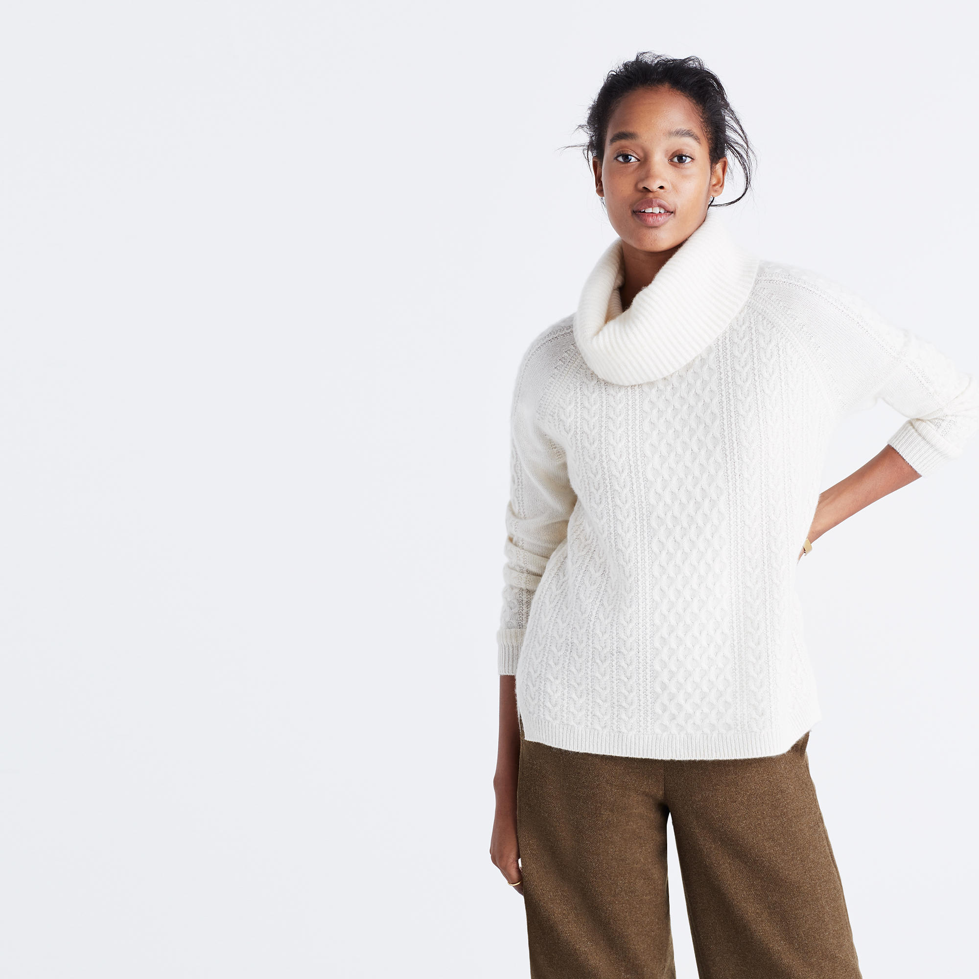 Cashmere Convertible Turtleneck Sweater in Cableknit : cashmere ...