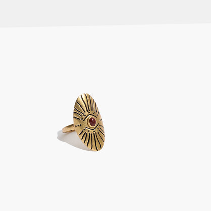 Etched Shield Ring in Gold-Tone