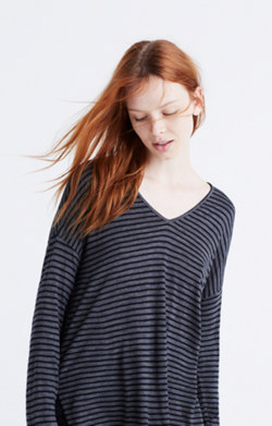 Anthem Long-Sleeve V-Neck Tee in Stripe