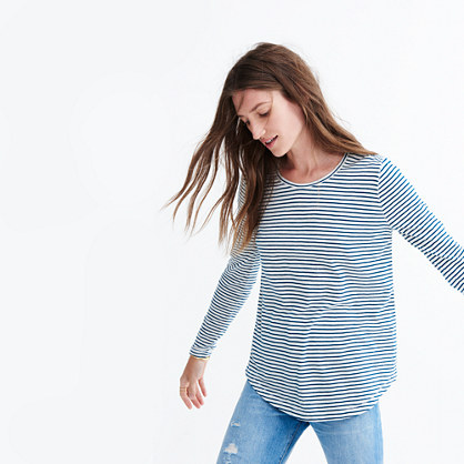 Whisper Cotton Long-Sleeve Crewneck Tee in Hardy Stripe