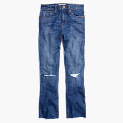Cali Demi-Boot Jeans in Donovan Wash: Knee-Rip Edition