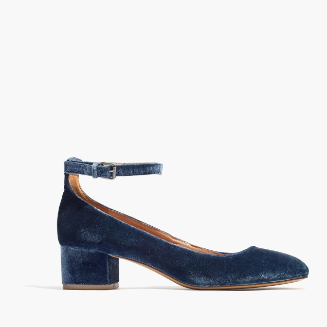 The Inez Ankle-Strap Shoe in Velvet : shopmadewell heels | Madewell