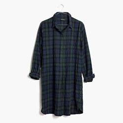 Flannel Side-Button Shirtdress in Dark Plaid