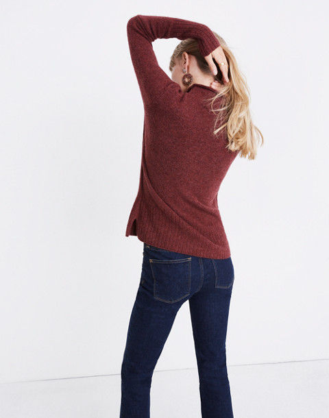 Inland Turtleneck Sweater in Coziest Yarn in hthr burgundy image 3