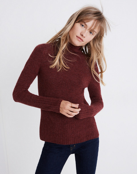Inland Turtleneck Sweater in Coziest Yarn in hthr burgundy image 1
