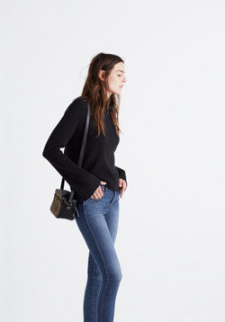 Bell-Sleeve Ribbed Turtleneck Sweater