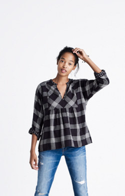 Bohème Popover Shirt in Hayden Plaid
