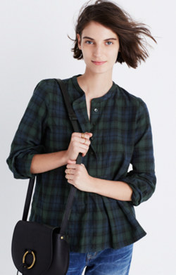Market Popover Shirt in Dark Plaid