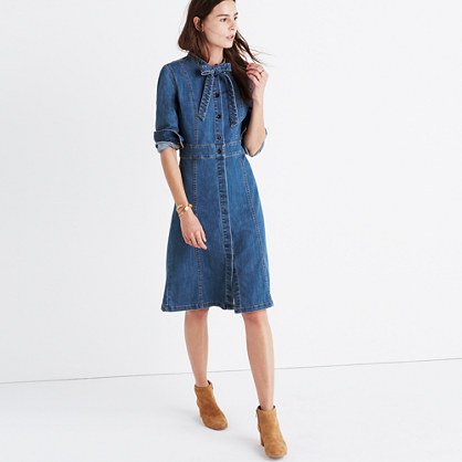 Denim Tie-Neck Shirtdress