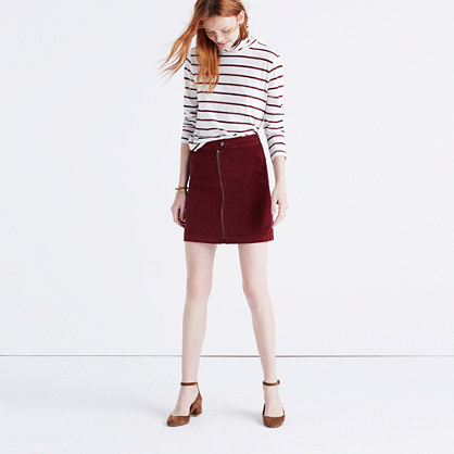 Studio Zip Skirt in Velvet