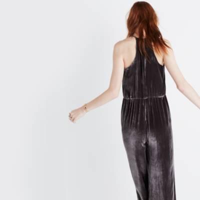 Madewell Woman Velvet Jumpsuit Dark Gray Size 12 Madewell