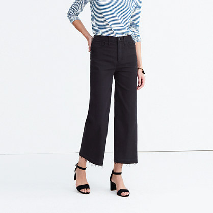 Wide-Leg Crop Jeans in True Black: Drop-Hem Edition