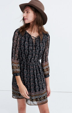 Lace-Up Dress in Burnished Floral