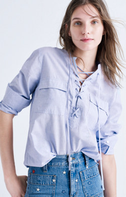 Terrace Lace-Up Shirt in Waterfall Blue