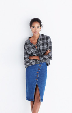 Terrace Lace-Up Shirt in Owens Plaid