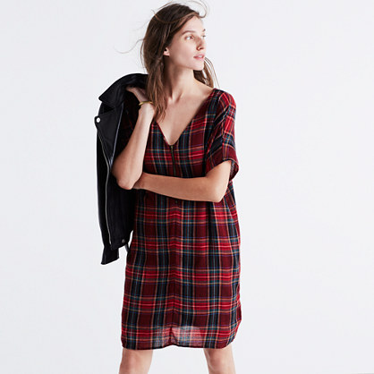 Zip-Front Dress in Tartan Plaid
