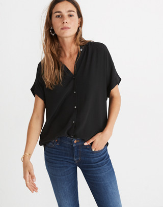 Central Drapey Shirt in true black image 3