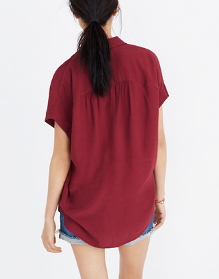 Central Drapey Shirt in dusty burgundy image 3
